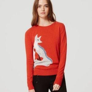 ANN TAYLOR LOFT   Coral Italian Yarn Fox Sweater